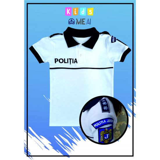 Tricou Alb Poliția Rutiera Junior