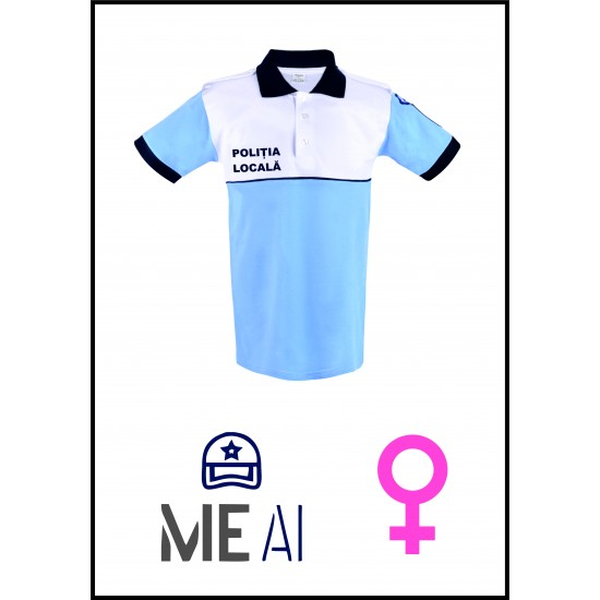 Tricou Polo Alb/Bleu - Poliția Locală Damă