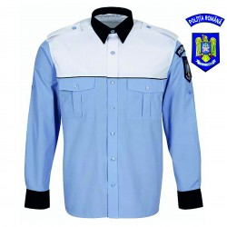 Cămașă bleu mânecă lungă platcă albă bărbați - IGPR