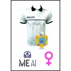 Tricou Polo Alb - Poliția Română Dama