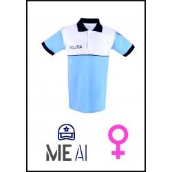 Tricou Polo Alb/Bleu - Poliția Română Dama