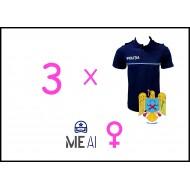 Set 3 Tricouri Polo Bleumarin - Poliția Română Dama