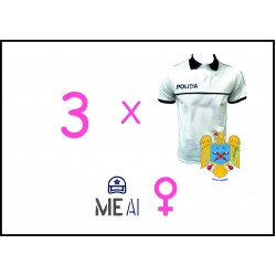 Set 3 Tricouri Polo Alb - Poliția Română Dama
