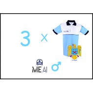 Set 3 Tricouri Polo Alb/Bleu Poliția Română Barbat