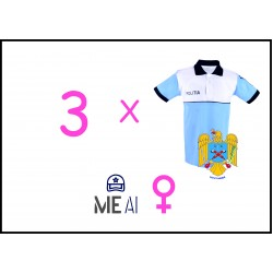 Set 3 Tricouri Polo Alb/Bleu Poliția Română Dama