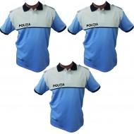 Set 3 Tricouri Polo Alb/Bleu Poliția Română